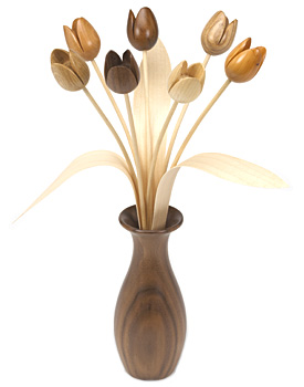 Wooden Flowers by Martin Jones, hand made in Britain.