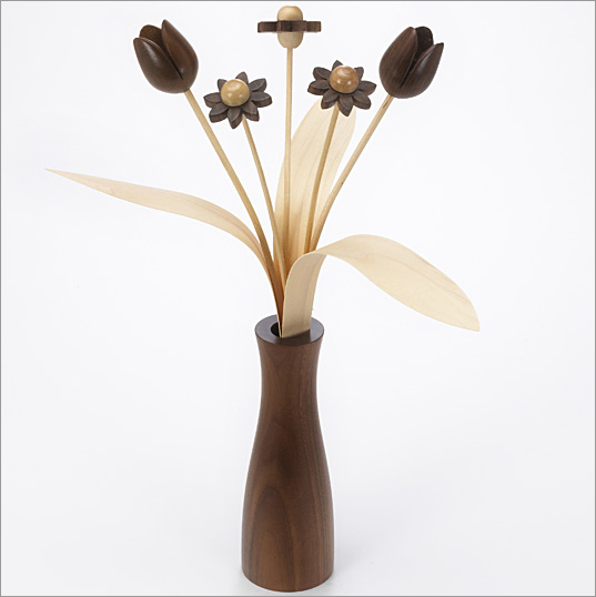 3 Walnut Daisies, 2 Walnut Tulips with 3 natural leaves with Walnut 'cool' vase