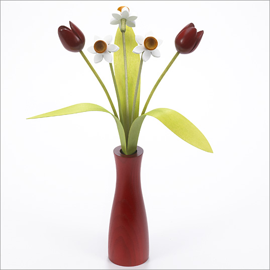3 white Daffodils, 2 red Tulips with 3 green leaves with red 'cool vase