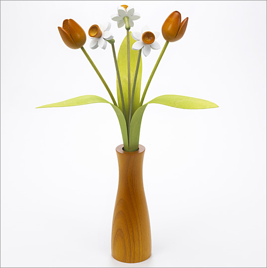 3 white Daffodils, 2 yellow Tulips with 3 green leaves with yellow 'cool vase