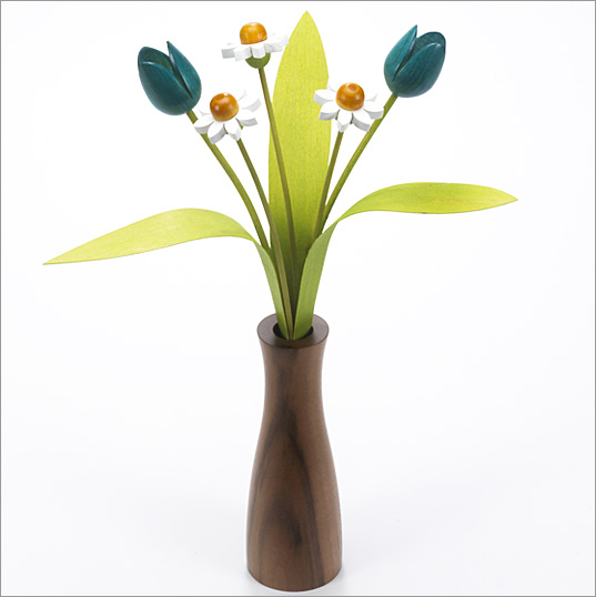 3 white Daisies, 2 turquoise Tulips with 3 green leaves with Walnut 'cool' vase