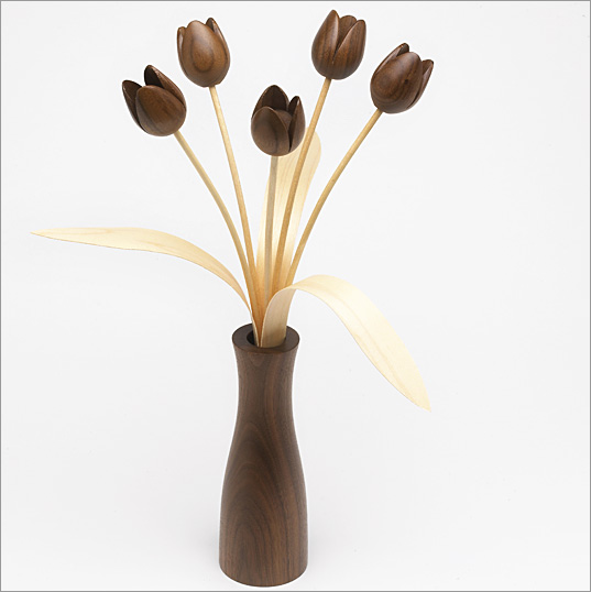 5 Walnut Tulips, Walnut 'cool' vase with 3 leaves